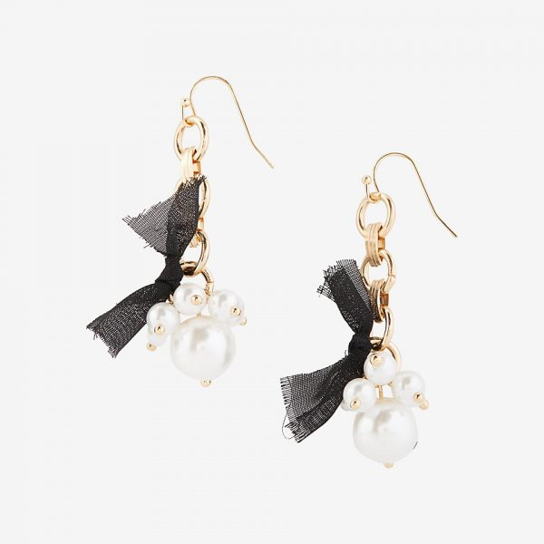 beaded ribbon drop earrings