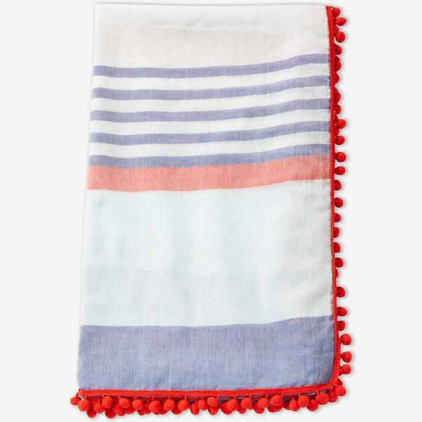 pom fringe stripe scarf