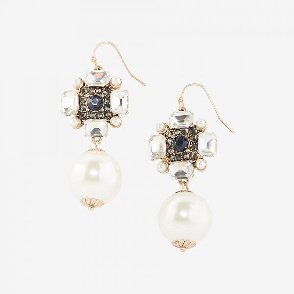 stone pearl linear drop earrings