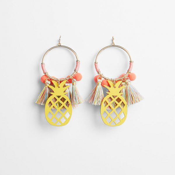 pineapple tassel pom earrings