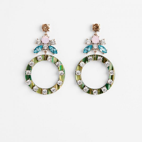 stone resin circle earrings