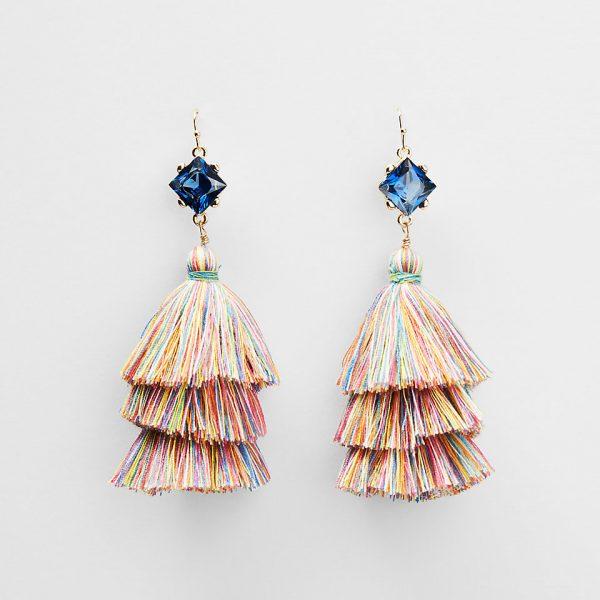 stone triple tassel drop earrings
