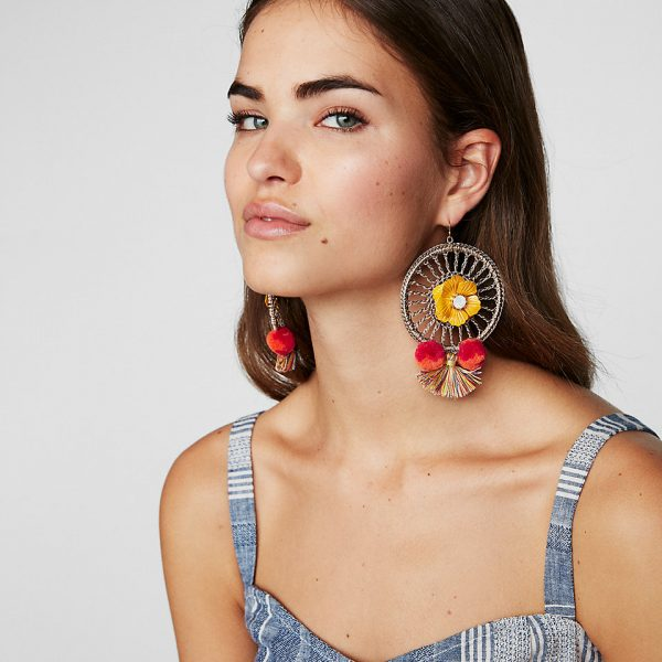 woven flower pom drop earrings