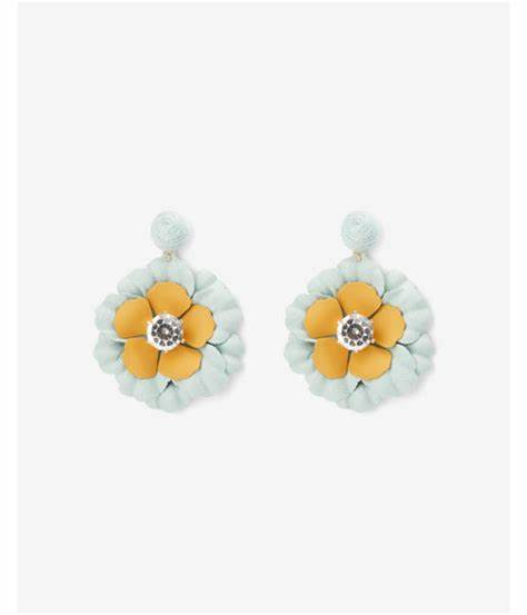 flower drop stone earring