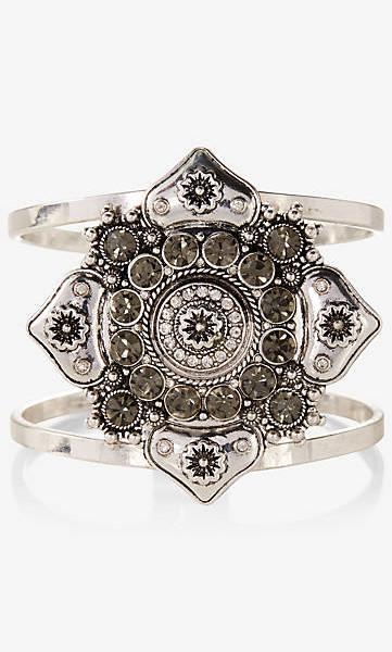 rhinestone medallion hinge bracelet