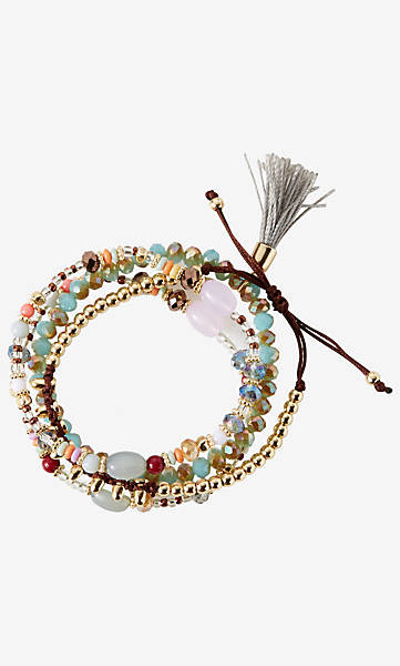 set of four mixed beaded bracelets