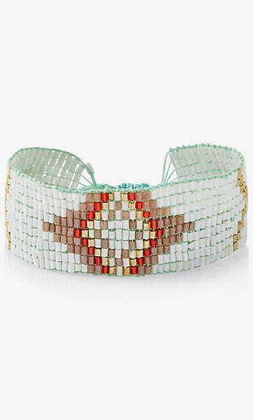 woven bead pull cord cuff bracelet