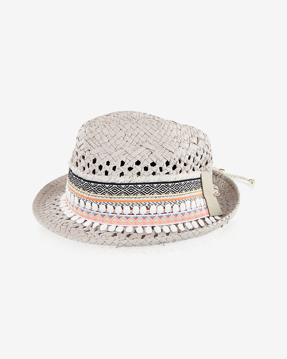 embroidered straw pom pom fedora  25b7bfe34a9