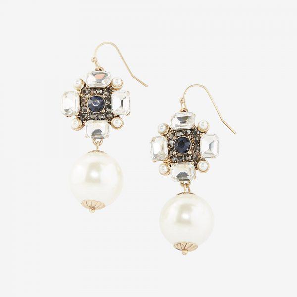 stone pearl linear drop earrings