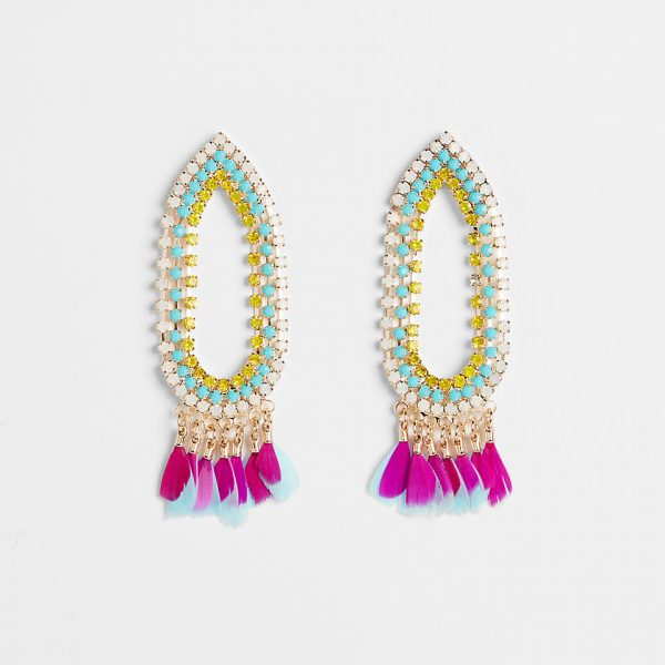 rhinestone feather fringe earrings
