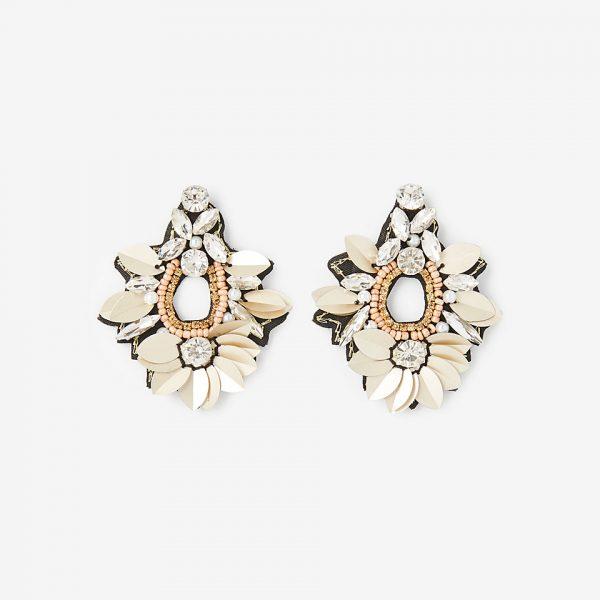 sequin stone drop earrings
