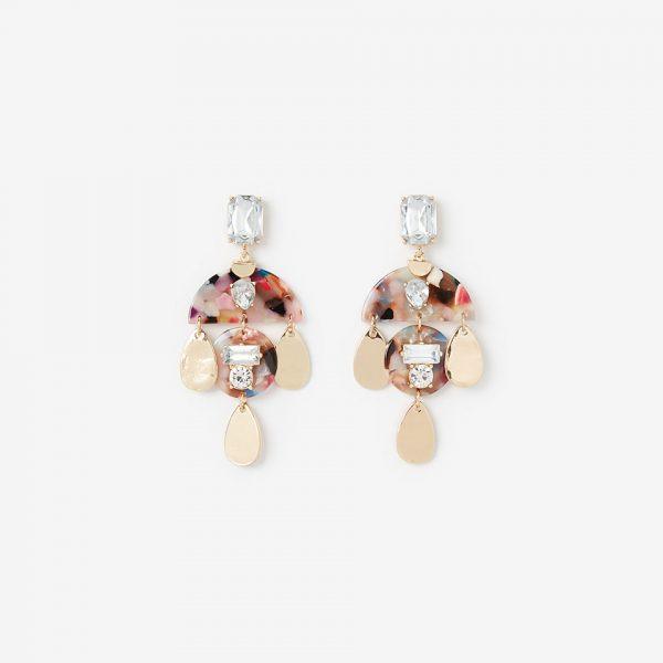 stone embellished resin teardrop earrings